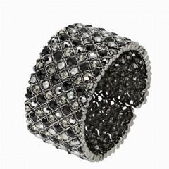 Hollywood Bangle Swarovski Black Crystal Cluster