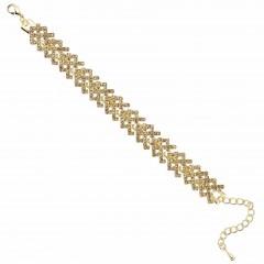 Gold Crystal Kriss Cross Mesh Bracelet