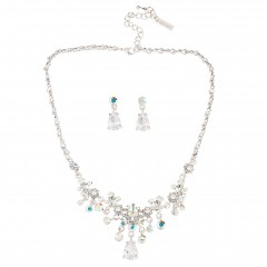 Crystal Drop Necklace & Earrings in AB Swarovski Crystal & Cubic Zirconia
