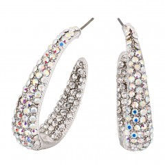 AB Crystal Earrings Large Hooped, 38mm Length