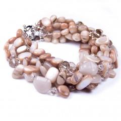 Beige Fawn Shells, Beads Crystals 6 Stranded Bracelet UK Designer Bcharmd