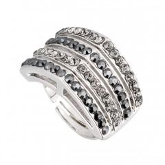 Black Swarovski Crystal Ring Apex
