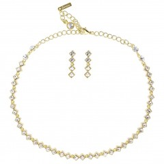 Clear Crystal Necklace and Earrings Set, White Diamond Swarovski Crystals, Gold Plated.