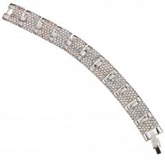 AB & Clear Crystal Bracelet, linked panels