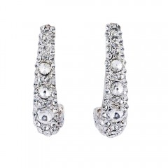 Clear Crystal Long Cuff Earrings, 50mm Drop, Swarovski Crystal