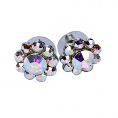 Swarovski AB Crystal Small Flower Stud Earrings - 17m Diameter