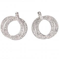 Double Circle Hoops Crystal Earrings with Swarovski Crystal - length 45mm - Gemini London, nickel free base metal Rhodium Plating