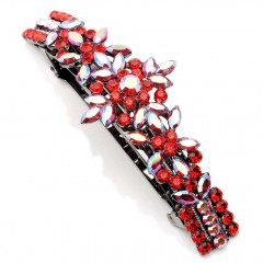 Red Light Siam Swarovski Crystal Flower Spray Hair Slide, Gemini London