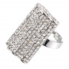 White Diamond swarovski Crystal Ridged Adjustable Hollywood Ring