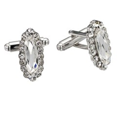 Swarovski White Diamond Crystal Oval Cufflinks Cubic Zirconia