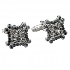 Jet Black Square Decorate Swarovski Crystal Cufflinks Gemini London