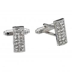 White Diamond Rectangle Swarovski Crystal Cufflinks Gemini London