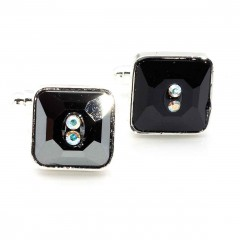 Jet Black Square Swarovski Crystal Cufflinks Gemini London