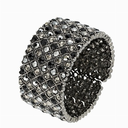 Hollywood Bangle Swarovski Black Crystal Cluster