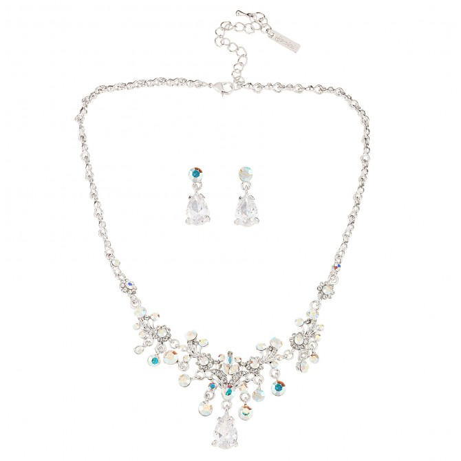 Crystal Drop Necklace & Earrings in AB Swarovski Crystal & Cubic Zirconia