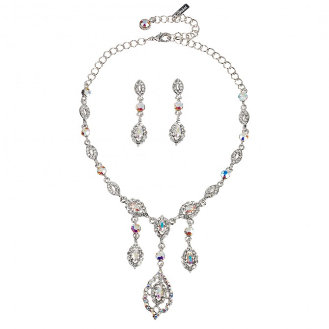AB Crystal Jewellery Set - Three Crystal Drop Necklace and Earrings, AB & Clear Swarovski Crystals