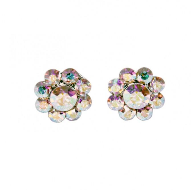 Swarovski AB Crystal Small Flower Stud Earrings - 14m Diameter