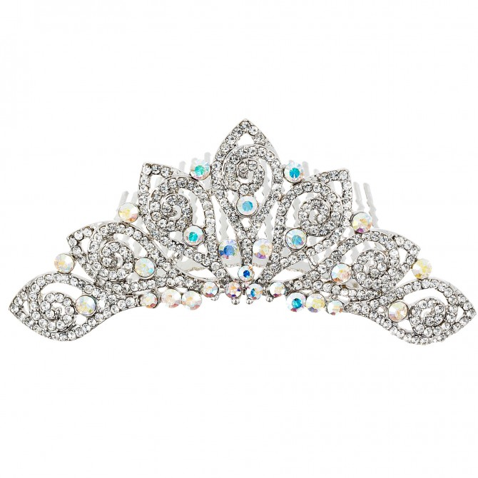 AB Crystal Tiara Hair Comb, Mini Leaf Swirl, Clear and AB Swarovski Crystal