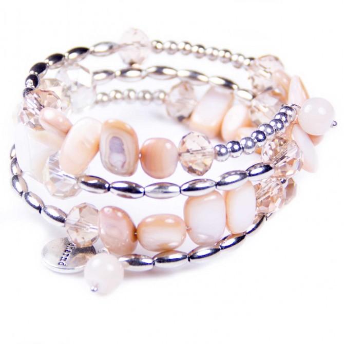 Beige Spiral Bracelet, Shell Beads, Crystal. Designer bcharmd, England UK