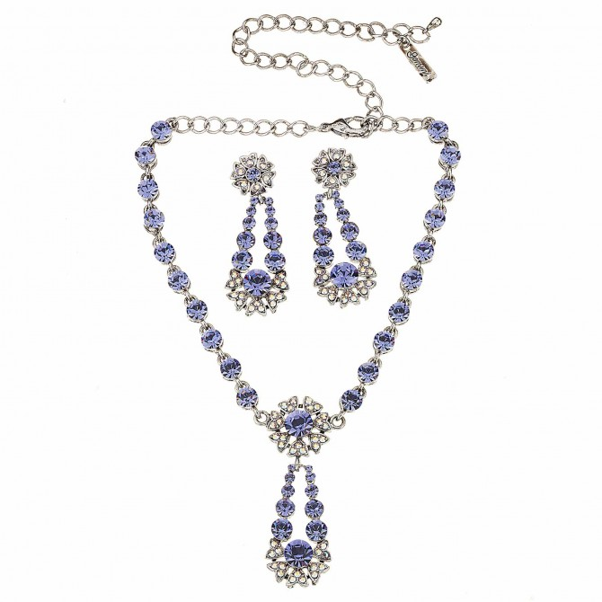 Blue Crystal Flower Pendant Drop Necklace and Earrings Set, Blue Swarovski Crystals