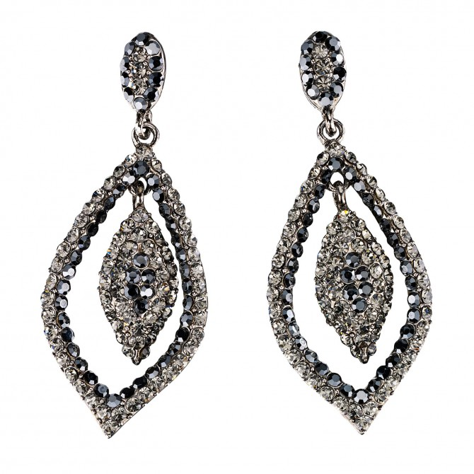 Dangling Tear Drop Crystal Earrings with Jet Black and Black Diamond Swarovski Crystal 65 mm drop length
