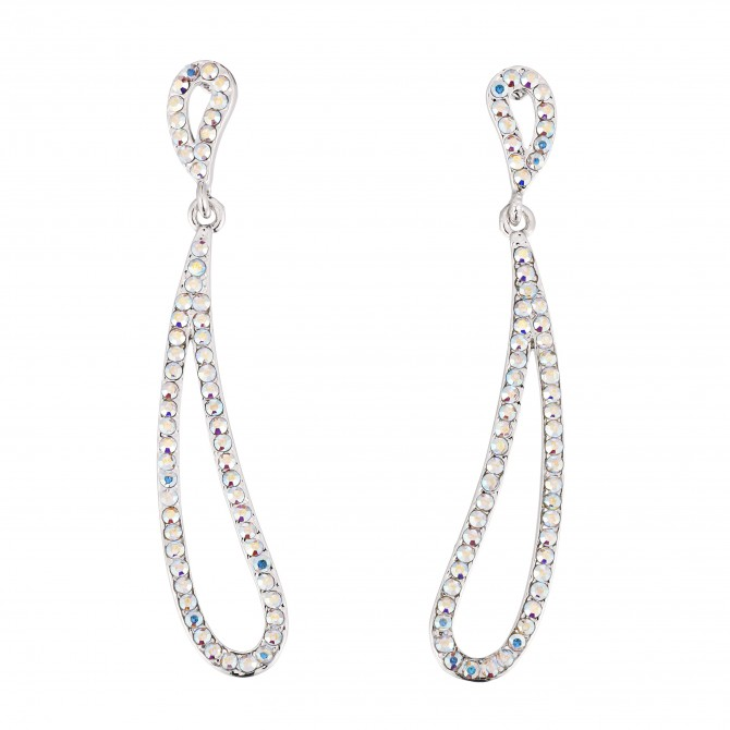 Abstract Hoop Earrings - Made with AB Swarovski Crystals, 64mm Drop