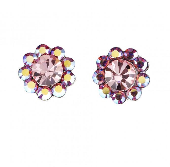 Gemini London UK Jewellery's, Light Rose and Pink AB Swarovski Crystal Flower Stud Earrings,  17mm Diameter , Rhodium Plated Silver Finish.