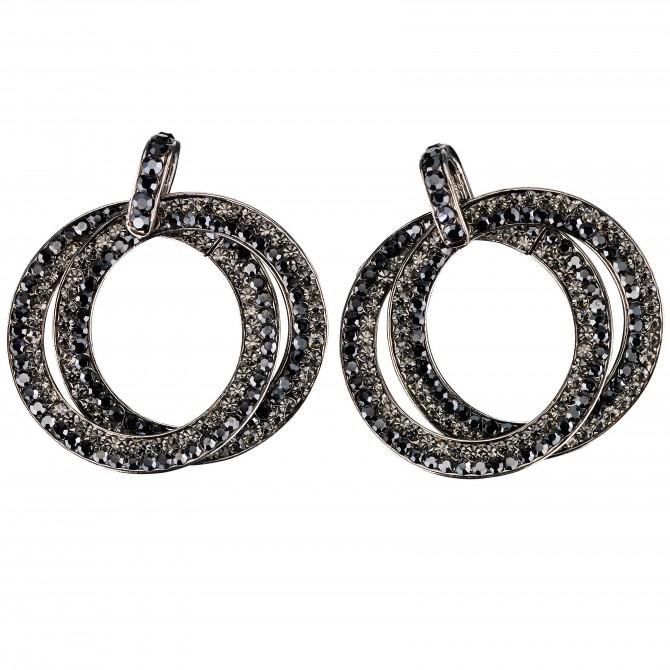 Double Circle Hoops Crystal Earrings with Jet Black and Black Diamond Swarovski Crystal - length 45mm - Gemini London