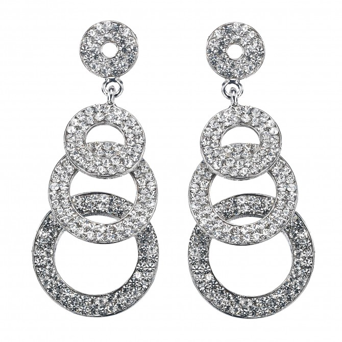 Four Circle Disc linked crystal earrings