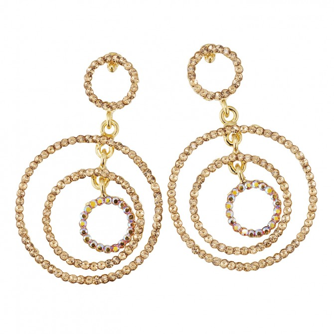 Gold Crystal Earrings Three circle drop