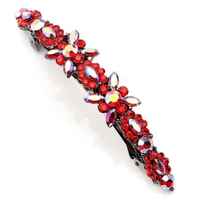 Red Light Siam Swarovski Crystal Flower Hair Slide, Gemini London