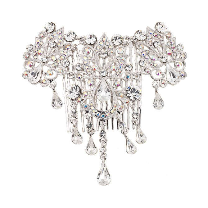 Teardrop Ornate AB and Clear Swarovski Crystal Hair Comb dancejewellery.co.uk
