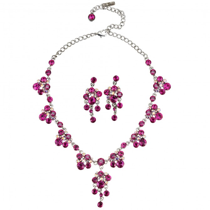 Pink Crystal Necklace and Earrings Set, Chandelier Drop