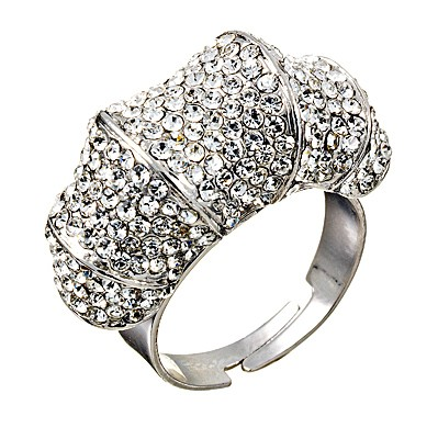 Tonal Ring with Swarovski Crystal Rhodium Plated Silver Finish Gemini