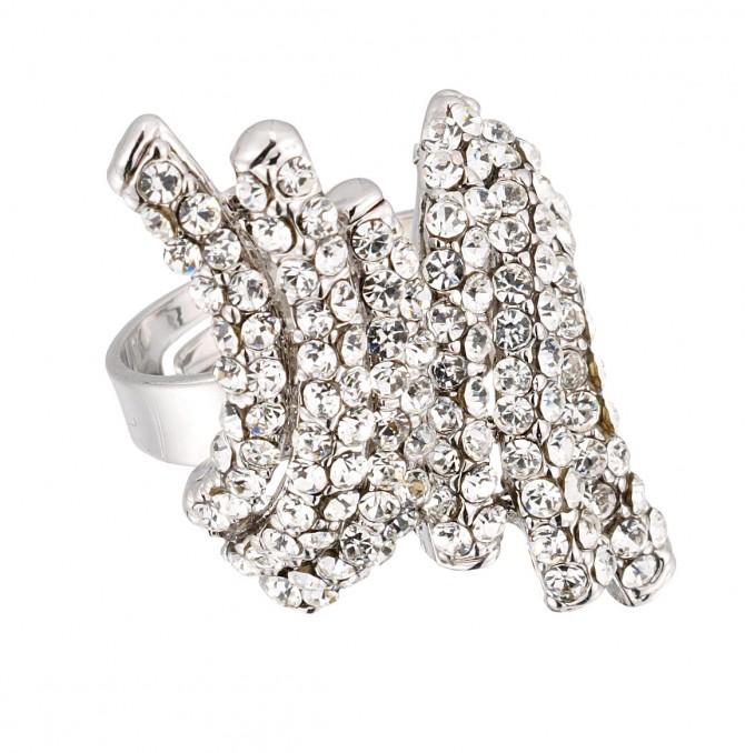 White Diamond Swarovski Clear Crystal Arch Adjustable Fashion Ring, Rhodium Plated Silver Finish. Gemini Jewellery
