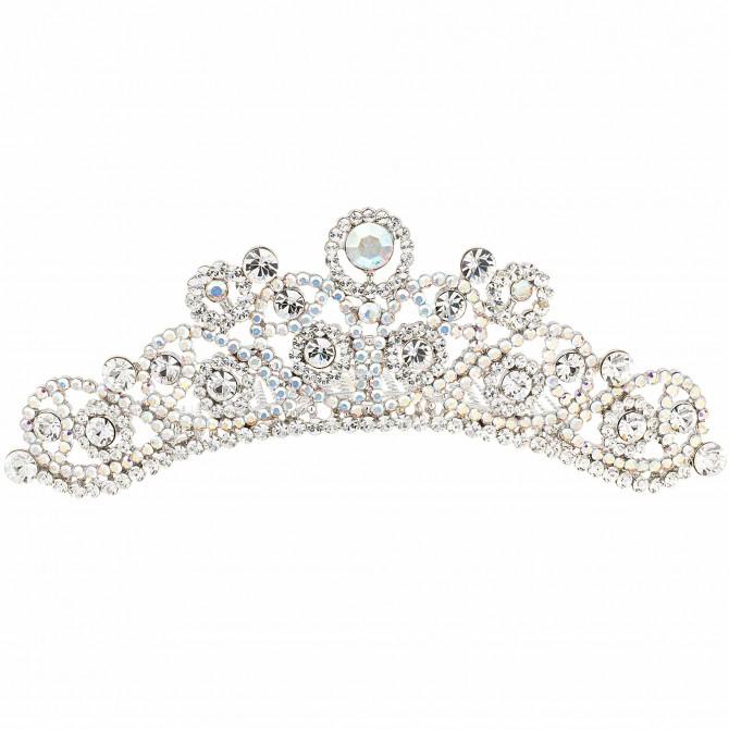 Swarovski Crystal Abstract Pear Drop Hair Comb Tiara, AB and Clear Swarovski Crystal