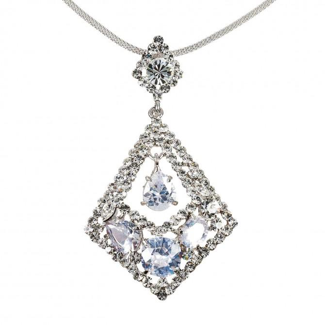 Rhombus Diamond Swarovski White Diamond Crystal Pendant Necklace