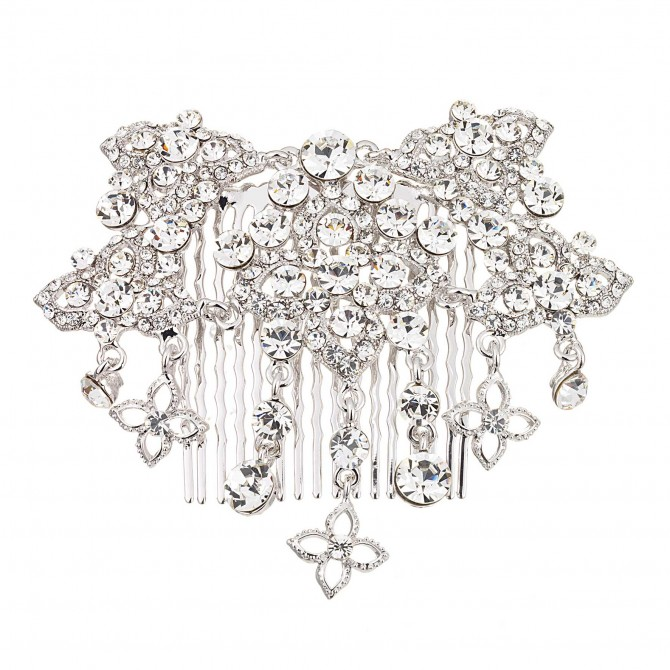 Clear Swarovski Crystal Flower Hair Comb