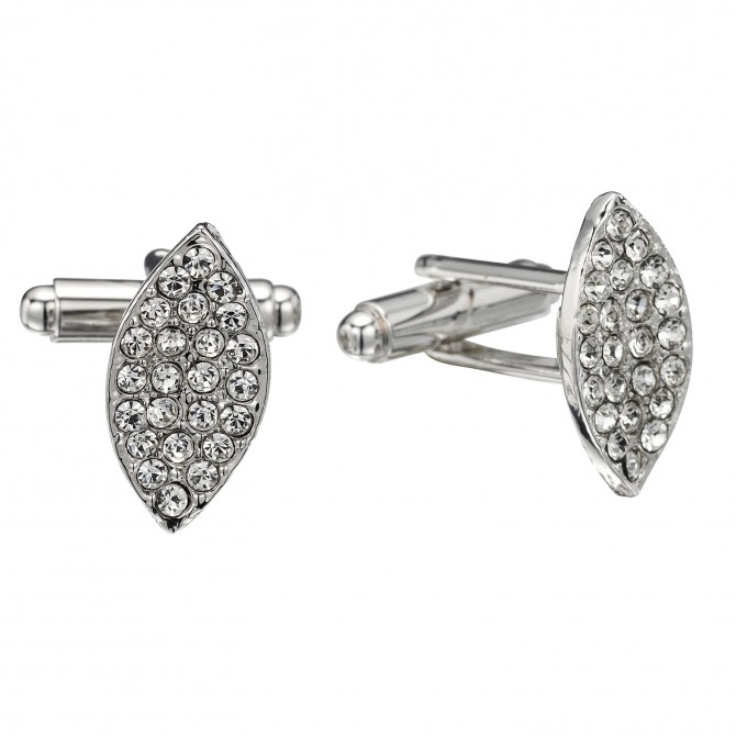 Swarovski Crystal White Diamond Marquise Cufflinks