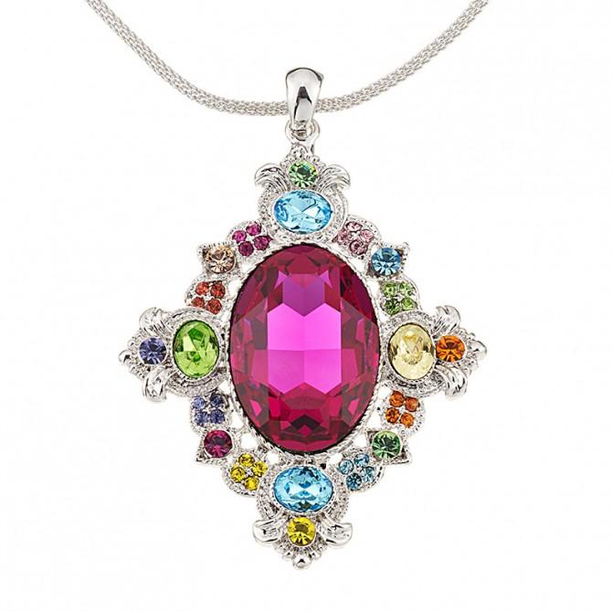 Vintage Swarovski multi-coloured Crystal Pendant Necklace, Rhodium Plated, Nickel Free