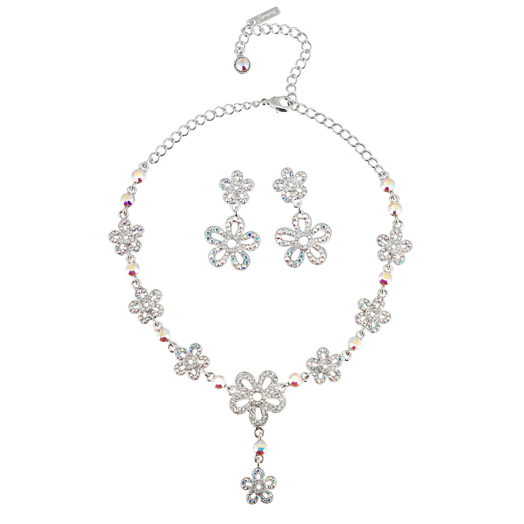 503427fa6a AB Crystal Jewellery Set - Necklace and Earrings of Summer Flowers, AB & Clear  Swarovski