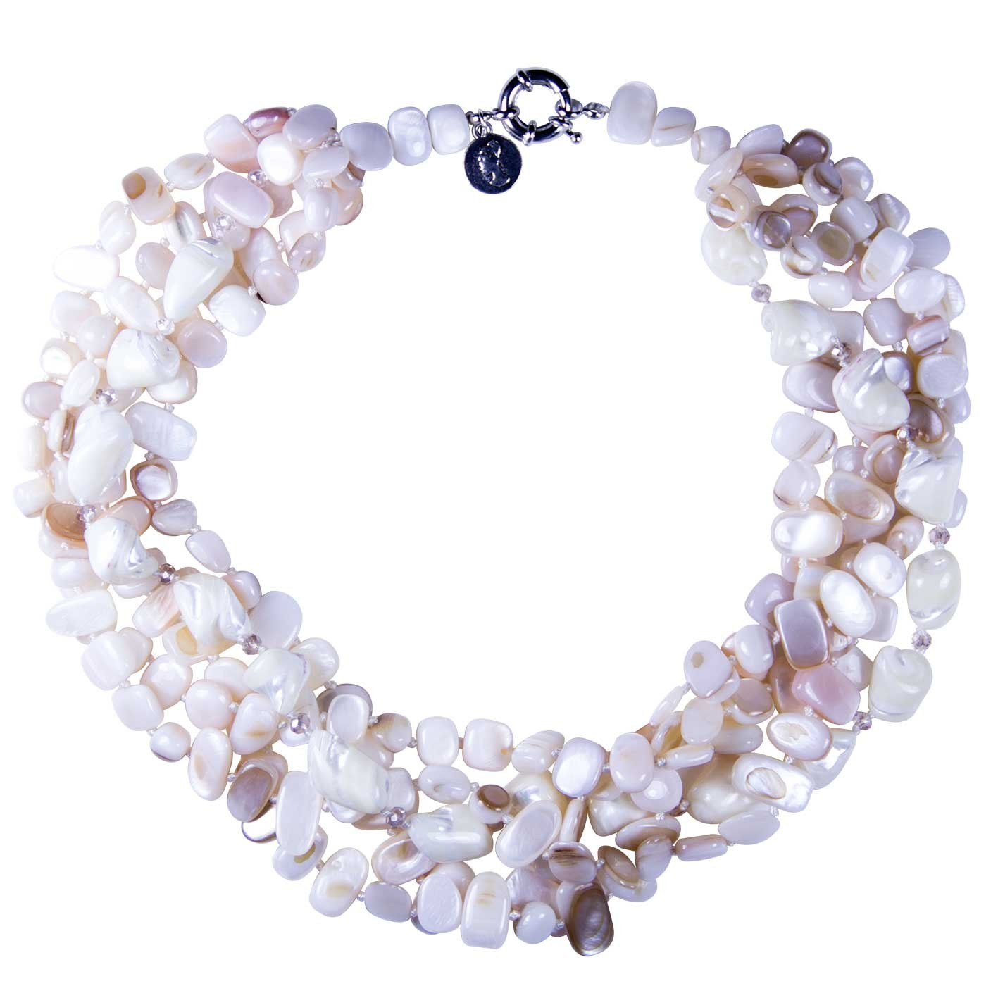 precious bc made beads n shells swarovski in necklace of semi cream strands shell crystal stones bcharmd white england crystals