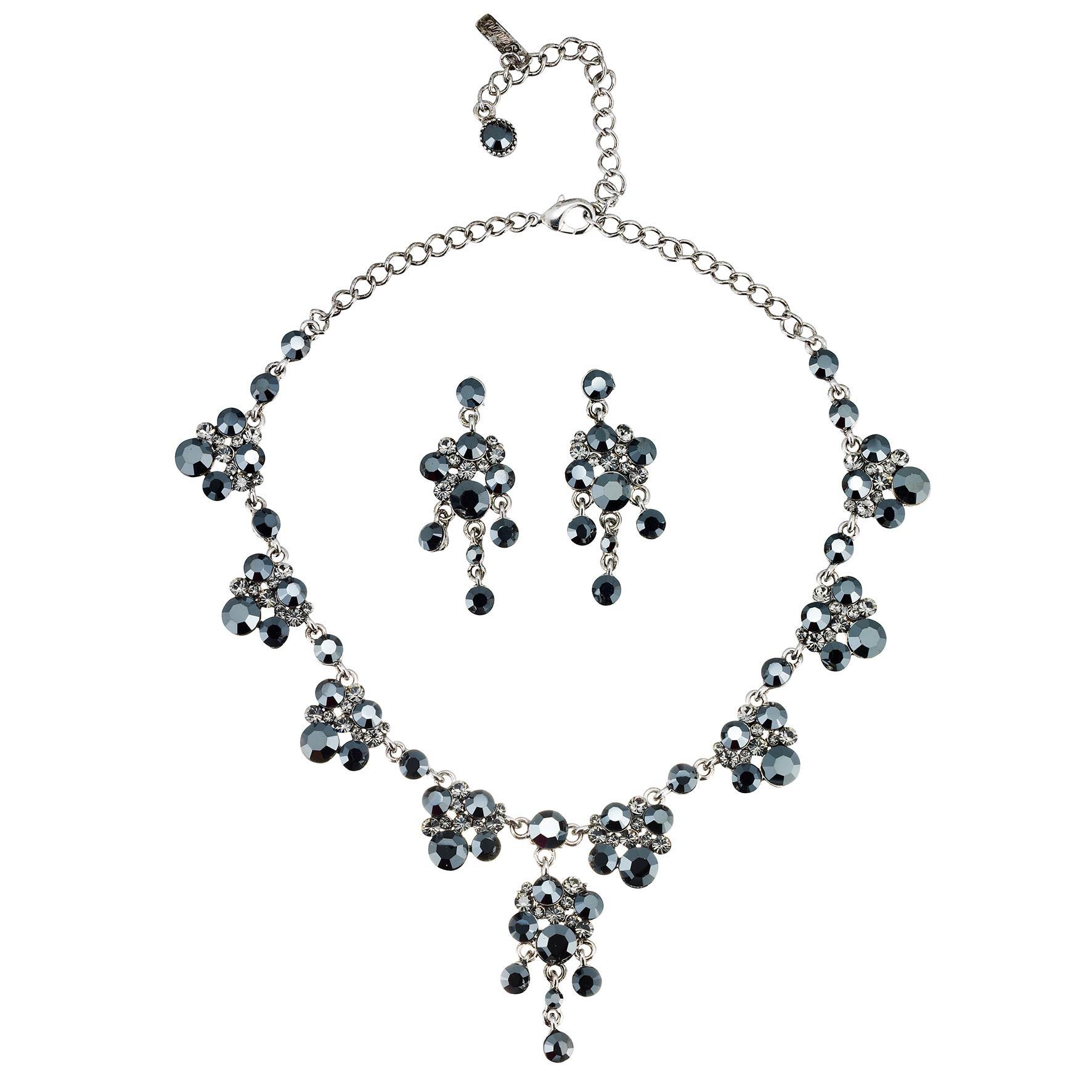 Swarovski Crystal Black Crystal Necklace And Earring Set