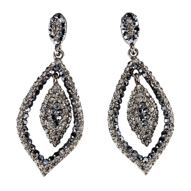 06e2bc7e0 Dangling Tear Drop Crystal Earrings with Jet Black and Black Diamond Swarovski  Crystal 65 mm drop