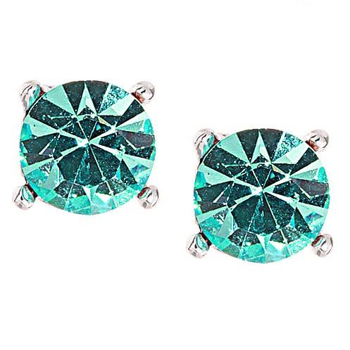 9ed9be1ab7d16 Single Stone Stud Earrings, Aqua Blue Swarovski Crystal - 9mm Diameter,  Gemini London Jewellery