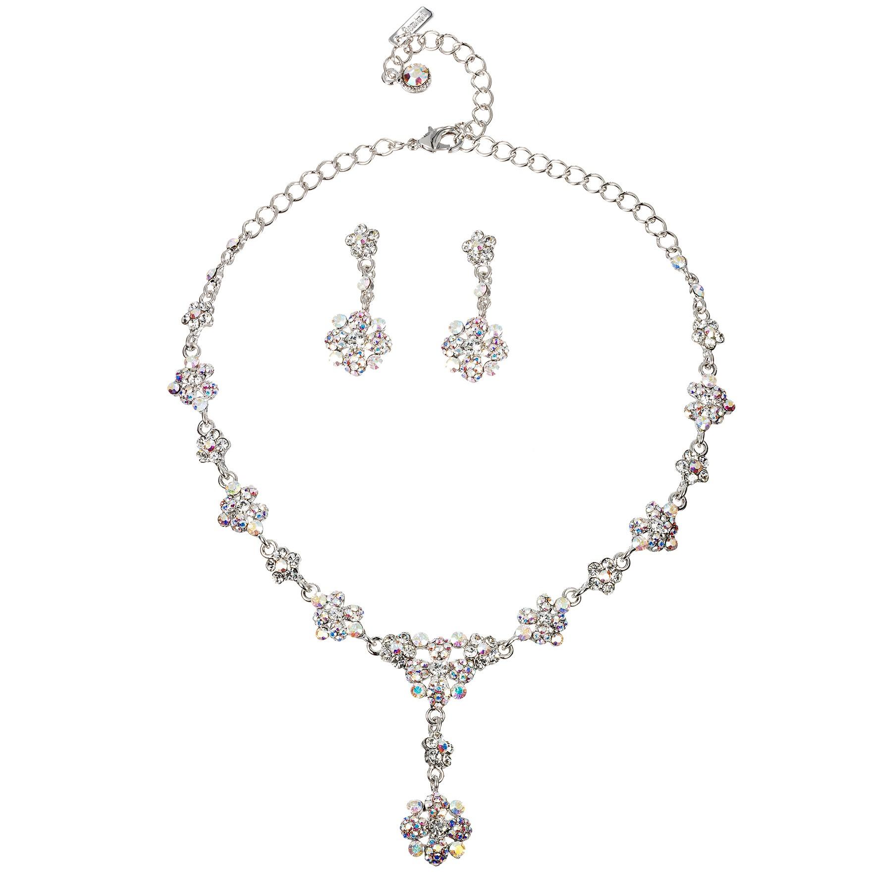 AB Crystal Flower Motif Jewellery Set AB   Clear Swarovski Crystals ... 9f9971e06be8
