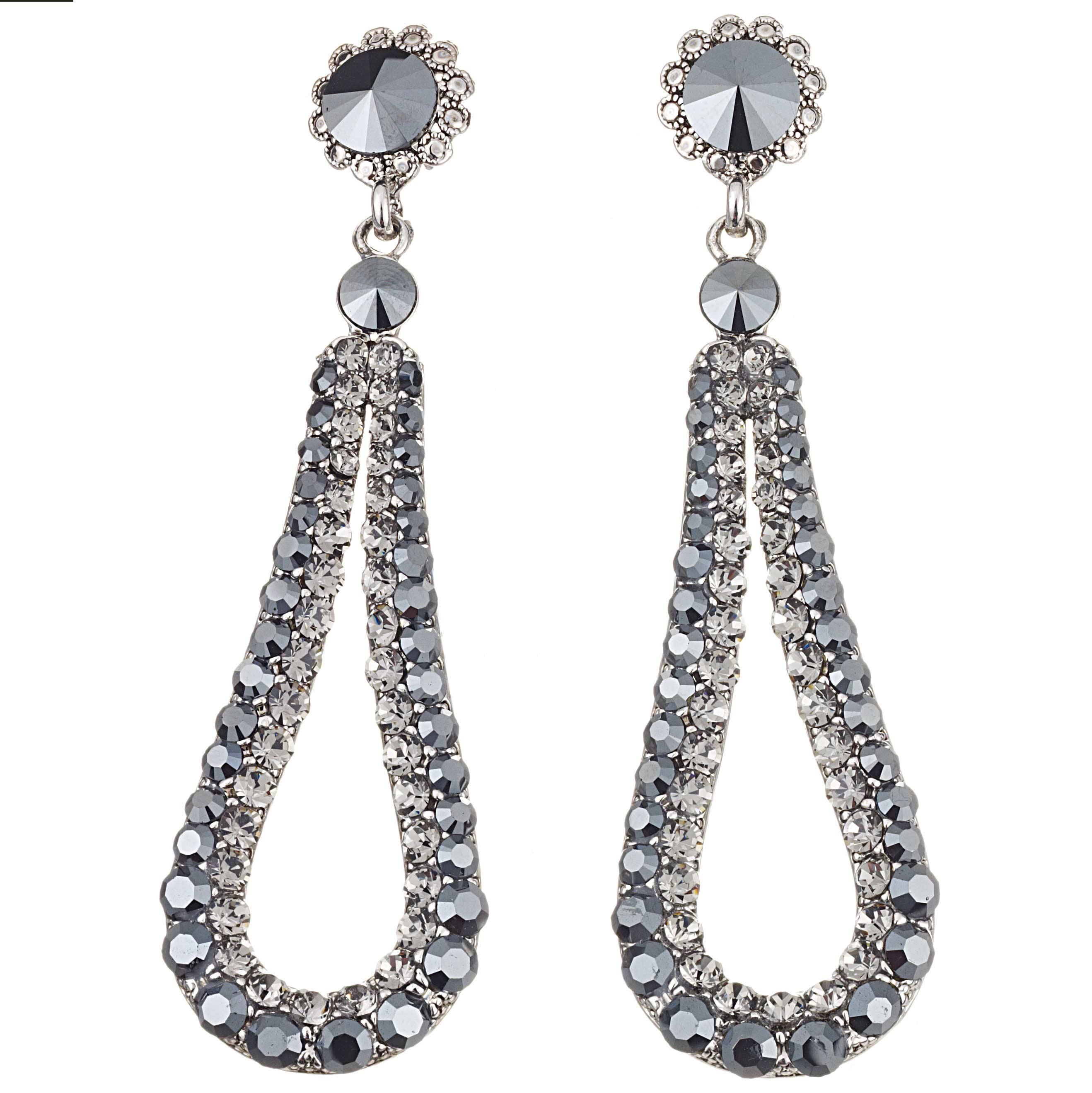 Fashion Loop Swing Earrings Swarovski Fashion Loop Swing Earrings Swarovski  Jet Black And Black Diamond Crystals