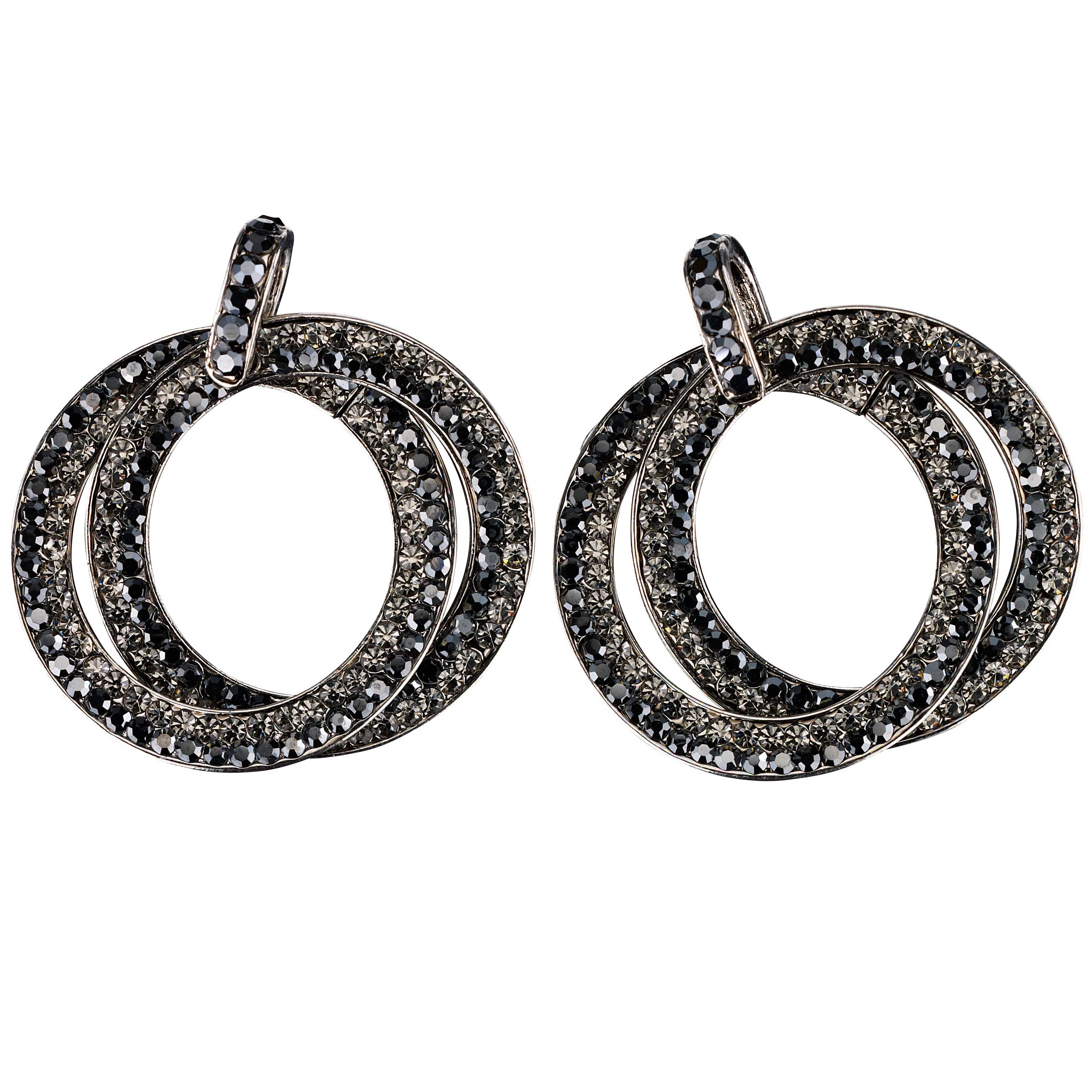 Double Circle Hoops Crystal Earrings with Jet Black and Black Diamond  Swarovski Crystal - length 45mm b65d01573