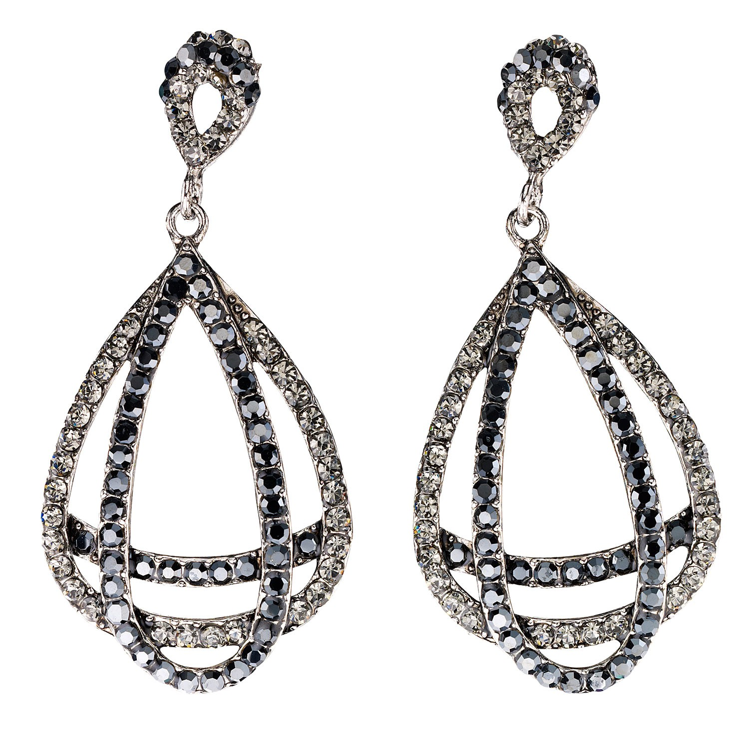 7804dcc42 Entwined Double Pear Drop Crystal Earrings with Black and Black Diamond Swarovski  Crystal