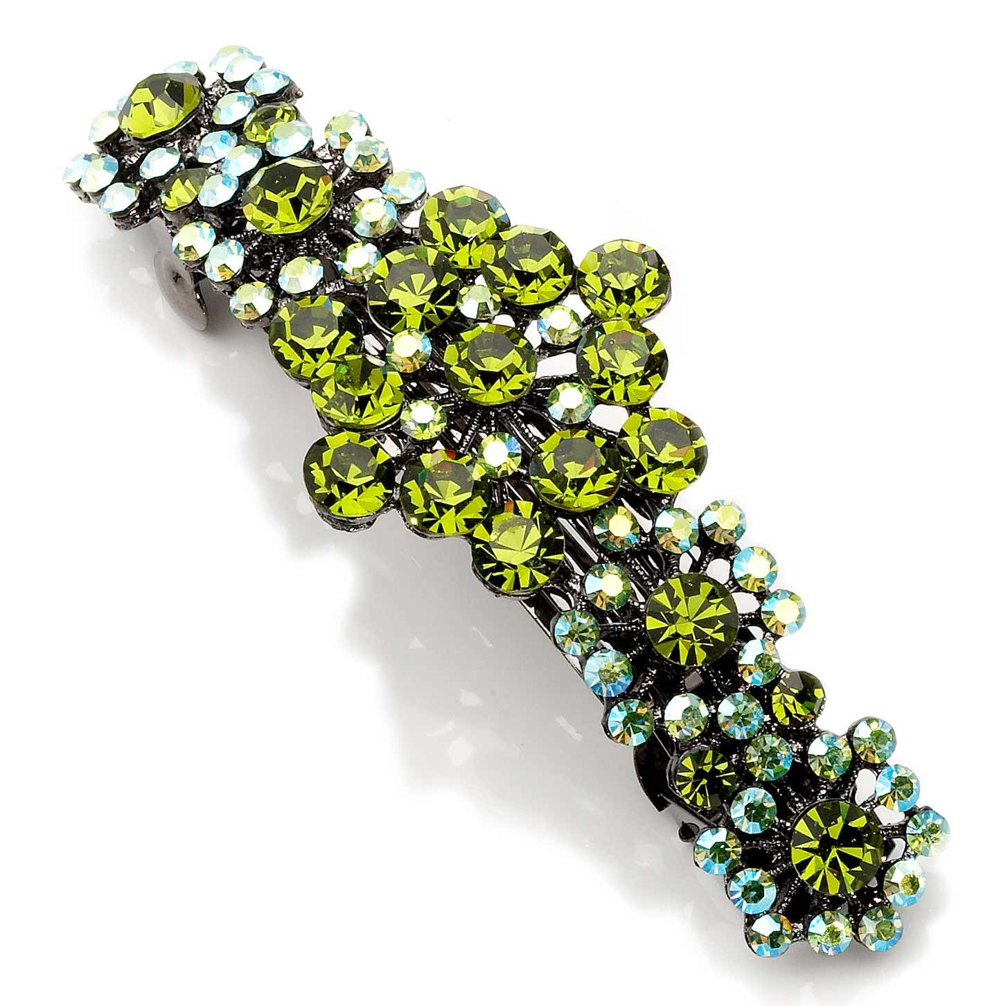 Olive Green and AB Olive Swarovski Crystal Hair Slide Fiesta Flowers ac15808b2